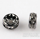 A Rhinestone Spacer Beads,6mm,white,with tungsten steel color round lace,sold per Pkg of 100