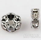A Rhinestone Spacer Beads,7mm,with silver wave lace,sold per Pkg of 100
