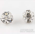 Round Rhinestone,8mm,white,with the silver flower cap,Sold per Pkg of 100