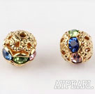 Round Rhinestone,8mm,multi color,with the golden flower cap,Sols per Pkg of 100