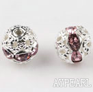 Round Rhinestone,8mm,violet,with the silver flower cap,Sold per Pkg of 100