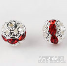 Round Rhinestone,8mm,red,with the silver flower cap,Sold per Pkg of 100