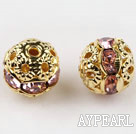 Round Rhinestone,8mm,baby pink,with the golden flower cap,Sold per Pkg of 100
