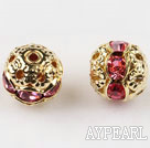 Round Rhinestone,8mm,pink,with the golden flower cap,Sold per Pkg of 100