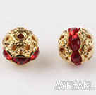 Round Rhinestone,8mm,red,with the golden flower cap,Sold per Pkg of 100