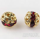 Round Rhinestone,8mm,garnet,with the golden flower cap,Sold per Pkg of 100