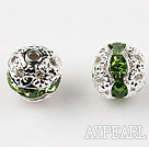 Round Rhinestone,8mm,green,with the silver flower cap,Sold per Pkg of 100