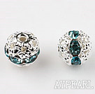 Round Rhinestone,8mm,cyan,with the silver flower cap,Sold per Pkg of 100