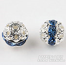 Round Rhinestone,8mm,blue,with the silver flower cap,Sold per Pkg of 100