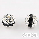Round Rhinestone,8mm,black,with the silver flower cap,Sold per Pkg of 100