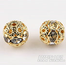 Round Rhinestone,8mm,white,with the golden flower cap,Sold per Pkg of 100