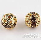 Round Rhinestone,8mm,brown,with the golden flower cap,Sold per Pkg of 100