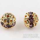 Round Rhinestone,8mm,lilac,with the golden flower cap,Sold per Pkg of 100