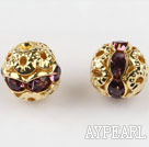 Round Rhinestone,8mm,violet,with the golden flower cap,Sold per Pkg of 100