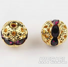 Round Rhinestone,8mm,purple,with the golden flower cap,Sold per Pkg of 100