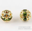 Round Rhinestone,8mm,green,with the golden flower cap,Sold per Pkg of 100