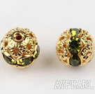 Round Rhinestone,8mm,kelly,with the golden flower cap,Sold per Pkg of 100
