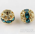 Round Rhinestone,8mm,cyan,with the golden flower cap,Sold per Pkg of 100
