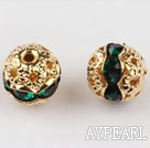 Round Rhinestone,8mm,verdure,with the golden flower cap,Sold per Pkg of 100