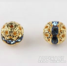 Round Rhinestone,8mm,light blue,with the golden flower cap,Sold per Pkg of 100