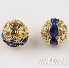 Round Rhinestone,8mm,blue,with the golden flower cap,Sold per Pkg of 100