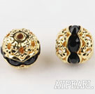Round Rhinestone,8mm,black,with the golden flower cap,Sold per Pkg of 100