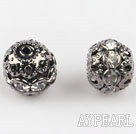 Round Rhinestone,10mm,with the silver flower cap,Sold per Pkg of 100