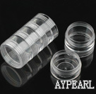 round plastic beads container,38*98mm,with 5 compartment,sold by each
