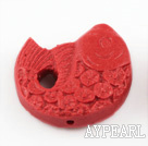 Cinnabar beads,28mm fish,red. Sold by each.