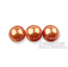 Glass pearl beads,dyed,4mm round, orange,about 224pcs/strand,Sold per 32.28-inch strand
