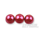 Glass pearl beads,dyed,4mm round, dark pink,about 224pcs/strand,Sold per 32.28-inch strand