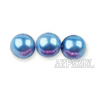 Glass pearl beads,6mm round,blue, about 144pcs/strand,Sold per 32.28-inch strand