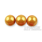Glass pearl beads,6mm round,golden, about 144pcs/strand,Sold per 32.28-inch strand