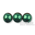 Glass pearl beads,8mm round,dark olive, about 108pcs/strand,Sold per 32.28-inch strand