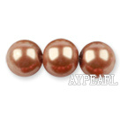 Glass pearl beads,12mm round,gold brown, about 71pcs/strand, Sold per 32-inch strand