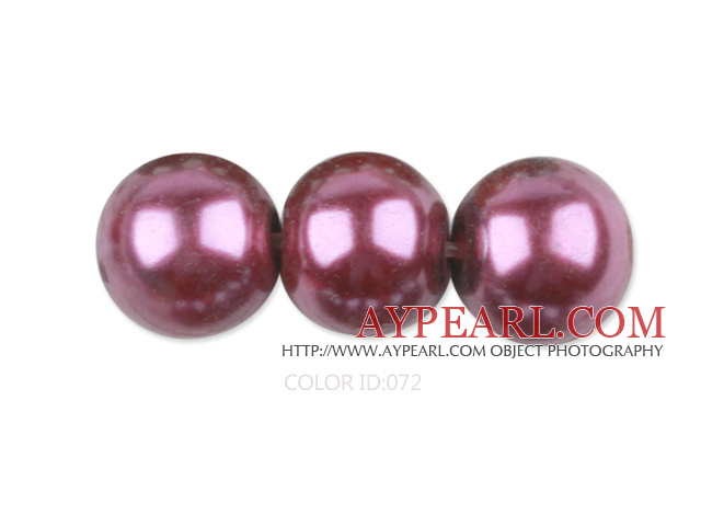 Glass pearl beads,12mm round,fuchsia, about 71pcs/strand, Sold per 32-inch strand