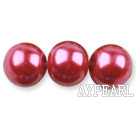 Glass pearl beads,14mm round,red, about 62pcs/strand, Sold per 32-inch strand