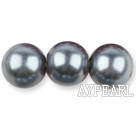 Glass pearl beads,14mm round,dark gray, about 62pcs/strand, Sold per 32-inch strand