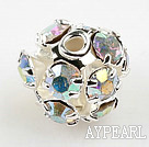 Rhinestone Round Beads, silver color,miticolor,6mm, Sold per pkg of 100.