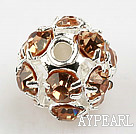 Rhinestone round beads,6mm,silver ,champagne. Sold per pkg of 100