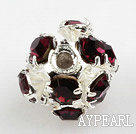 Rhinestone round beads,6mm,silver, dark red. Sold per pkg of 100
