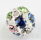 Rhinestone round beads,6mm,silver-plated ,multicolor. Sold per pkg of 100