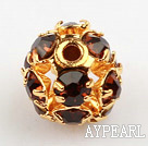 Rhinestone round beads,6mm,golden,dark red. Sold per pkg of 100.