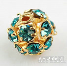 Rhinestone round beads,6mm,Golden ,Blue, Sold per pkg of 100