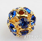 Rhinestone round beads,6mm,Golden,Blue, Sold per pkg of 100