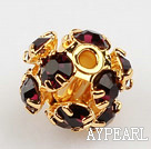 Rhinestone round beads,6mm,Golden ,claret, Sold per pkg of 100