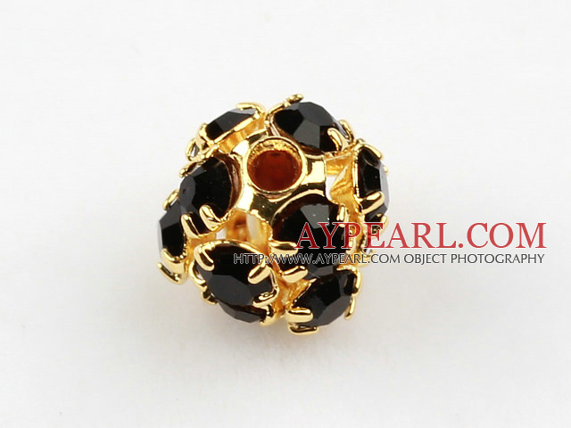 Rhinestone round beads,6mm,Golden ,black, Sold per pkg of 100