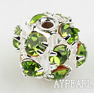 Rhinestone round beads,6mm,Silver Color,Green, Sold per pkg of 100