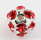Rhinestone round beads,6mm,silver color,red. Sold per pkg of 100.