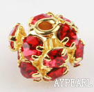 Rhinestone round beads,6mm,golden,red. Sold per pkg of 100.